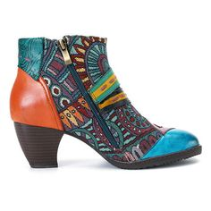 SOCOFY Bohemian Color Match Splicing Pattern Zipper Ankle Leather Boots