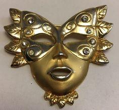 Vintage Mask Pin Rhinestone Goldtone Brooch Mardi Gras Masquerade