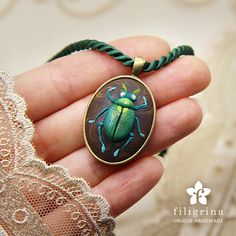 GREEN BEETLE spring pendant, vintage looking oval metal bezel, 30x23 mm, polymer clay. Steampunk necklace. Gift idea for her