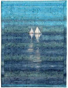 Sailboats by Margaret Heath Hartranft for the Alzheimer's Art Quilt Initiative Ocean Quilt, Beach Quilt, Small Quilts, Mini Quilts, Landscape Art Quilts, Landscapes, Nautical Quilt, Textiles, Thread Painting