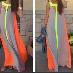 Maxi Dress Cute maxi dress grey/yellow/orange also have 1 medium to. Check my closet for the listing Dresses Maxi