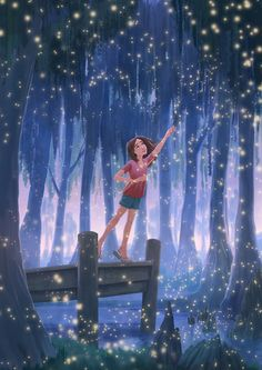 Erin McGuire: Time of the Fireflies Illustration Nocturne, Night Illustration, Art Anime Fille, Anime Art Girl, Firefly Art, Firefly Painting, Arte Indie, Art Mignon, Anime Scenery