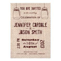 Rustic Wedding Invitations Mason Jars Burlap Print