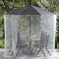 Har du en parasoll ute er dette den optimale måten å holde insekter unna, og kunne nyte livet utendørs både dag og kveld. Meget finmasket nett er effektivt hinder for mygg, knott og større insekter. Enkel å få på plass med snøring før du åpner parasollen. Høyde 250 cm. Laget av polyesternett med en åpning. Håndvask.