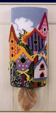 Bird house bag holder only inspiration Plastic Canvas Stitches, Plastic Canvas Coasters, Plastic Canvas Ornaments, Plastic Canvas Tissue Boxes, Plastic Canvas Christmas, Plastic Canvas Crafts, Plastic Canvas Patterns, Yarn Crafts, Sewing Crafts