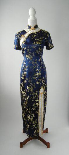 Navy Blue & Gold Satin Cheongsam Dress, Large