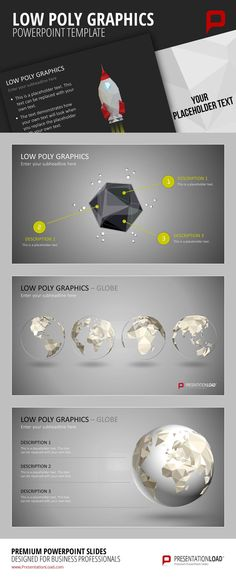 Low Poly Graphiken sind eine spezielle Art von Grafiken die nur eine geringe Anzahl an Polygonen verwenden. Diese Technik wird hauptsächlich für Computeranimationen verwendet um 3D Objekte zu erstellen, aber auch für abstrakte Darstellungen von Portraits und jeglichen Abbildungen im Bereich des Webdesigns. @ http://www.presentationload.de/low-poly-grafiken.html