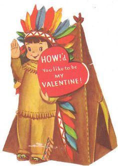 Vintage Valentine Card Indian Boy and Teepee Die Cut for Children Kids Child | eBay