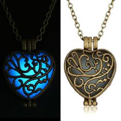 Vintage Glow In The Dark Locket copper Hollow Glowing Stone necklace Heart Statement Choker Pendant Necklaces For Women