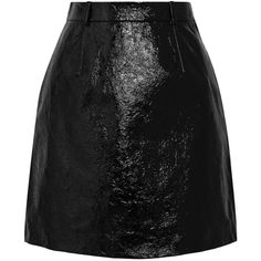 Carven Patent textured-leather mini skirt (£675) ❤ liked on Polyvore featuring skirts, mini skirts, black, carven skirt, patent leather skirt, patent leather mini skirt, short mini skirts and short skirts