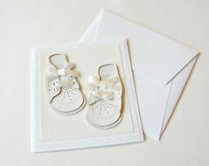 Baby Card Handmade Baby Shoes Blank Card by k8cards on Etsy, $5.00