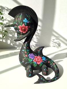Swanicorn in Bloom, hand-painted resin sculpture by Martin Hsu