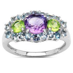 Olivia Leone Sterling Silver Multi-color Gemstone Ring
