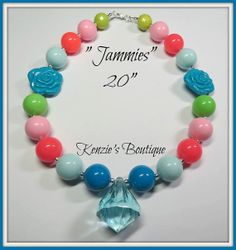 Jammies Chunky Beaded Necklace Child / Adult by KenziesBoutique1, $13.49