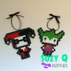 Pixel Chibi Harley Quinn and Joker ornaments. https://www.etsy.com/listing/240424770/pixel-chibi-harley-quinn-and-joker