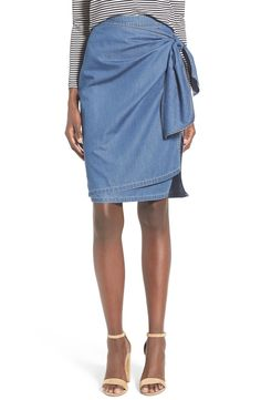 Tie Front Chambray Skirt