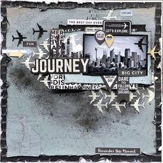 KC June - 'Journey' layout by Belinda Spencer DesignTeam for Kaisercraft using 'Just Landed' collection.