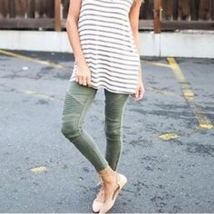These leggings are an absolute MUST for your wardrobe. These olive leggings can be dressed up for a night out or dressed down for a casual chic look. Look like denim, but pull on like a legging! Pair