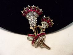 VTG 1940 RUBY RED BEJEWELED RHINESTONE FLOWER BROOCH PIN CORO CRAFT COROCRAFT #CoroCraft #Vintage