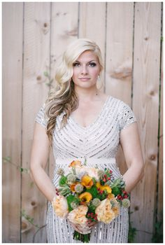 This #bride shines in an Adrianna Papell gown!  A Sparkling Affair: Houston Loft Wedding | Smitten Magazine