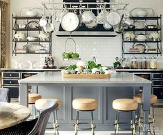 White French Kitchen Island - Design photos, ideas and inspiration. Amazing gallery of interior design and decorating ideas of White French Kitchen Island in dining rooms, kitchens by elite interior designers. Updated Kitchen, New Kitchen, Kitchen Ideas, Awesome Kitchen, Kitchen Time, Design Kitchen, Kitchen Colors, Gold Kitchen, Kitchen Updates