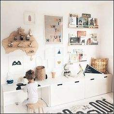 Brilliant Playroom Decor Ideas Related posts:Baby Nursery: Easy and Cozy Baby Room Ideas for Girl and Boys for or So Awesome Accessories for a Harry Potter Inspired Kids Room Playroom Decor, Baby Room Decor, Playroom Ideas, Children Playroom, Bedroom Decor, Kids Playroom Storage, Kids Room Shelves, Kids Shelf, Montessori Playroom