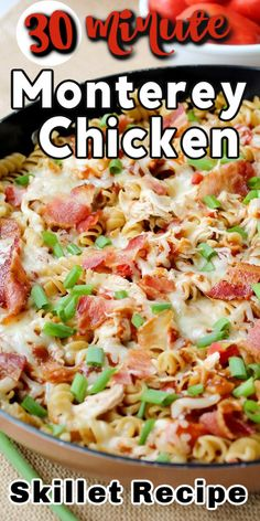 With shredded chicken, smokey BBQ sauce, crispy bacon and Monterey jack cheese, this SKILLET MONTEREY CHICKEN makes for a delicious and simple one-pan meal that everyone will love. #montereychicken #chickenrecipes #chicken #skilletmeals Recipe Using Chicken, Chicken Skillet Recipes, Best Chicken Recipes, Pasta Recipes, Cooking Recipes, Shredded Chicken Casserole, Shredded Chicken Recipes, Dinner Recipes Easy Quick, Quick Easy Meals