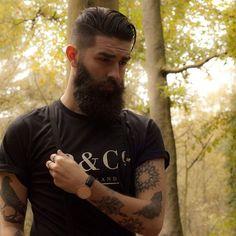 very dark full thick beard beards bearded man men stylish style undercut tattoo tattoos tattooed so handsome