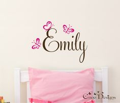 Personalized Name With Butterflies, Custom Vinyl wall decals stickers, nursery, kids & teens room, removable decals stickers. $17.99, via Etsy.