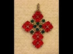 Christmas Crisscross Pendant Tutorial (I Pinned a matching earring pattern on the Christmas Decor/Gifts Beadwork Board, or Elegant Earrings Board) I feel this pattern would be beautiful in other colors for non-holiday wear.