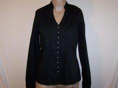 WORTHINGTON Shirt Top Blouse Sz 6 Black Stretch Pintuck Pleats Button Front NWT #Worthington #Blouse #Career