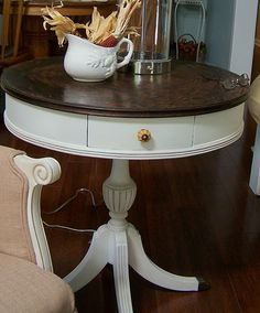 I love this idea for a drum table that I have that needs refinishing.