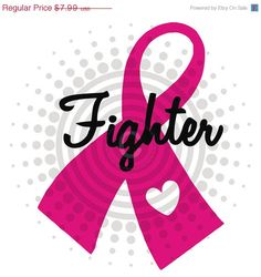 Breast Cancer Awareness FIGHTER Ribbon Decal Sticker