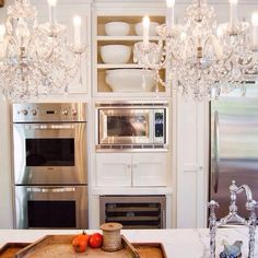 …chandeliers are a must in the kitchen if you ask me.