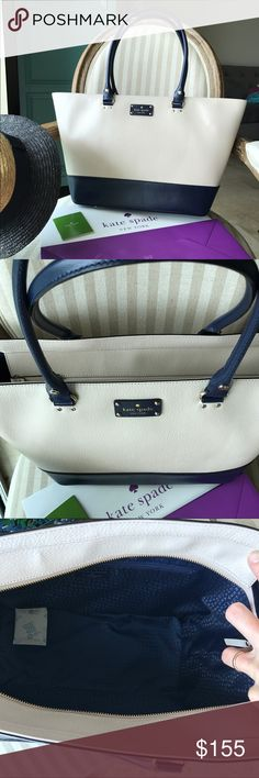 Kate Spade❤️Harmony Bag NEW!! Kate Spade Harmony Medium leather tote. Blue & Cream Brand new with tag attached Zip top closure Gold tone hardware Fully lined  🔴No trades ✅Tag attached ✈️Fast shipping/ same day next kate spade Bags Shoulder Bags