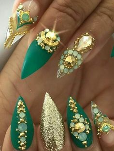 Green gold rhinestone nails More