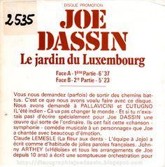 1000 images about joe dassin 1935 1980 on pinterest joe - Les jardins du luxembourg joe dassin ...