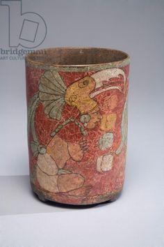 Cylinder vessel, Guatemala, c.600-900 (ceramic & paint)
