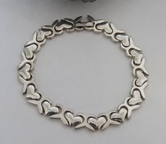 Sterling silver bracelet, link bracelet, hearts, marked 925 sterling, vintage, 25 grams