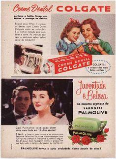 anúncios pasta de dente Colgate e sabonete Palmolive