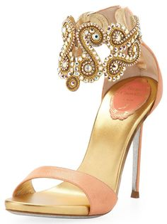 pinterest.com/fra411 #shoes #heels Rene Caovilla Crystal-Embellished Neutral Ankle Bracelet Sandal