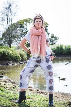 Printed Linen pant suit Grey Moss & Spot with Salmon Loose Weave Merino scarf. Designed & made in Tasmania, Australia. Wild at heart, ethical by nature! Fashion Shoot - Image by Emma Leslie Photography Creative Director Tamika Bannister