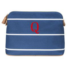 Personalized Blue Striped Cosmetic Bag -