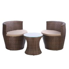 This handsome brown patio set trio features two chairs fitted with neutral foam cushions for hours of seated comfort. The matching hourglass-shaped woven wicker Painting Wicker Furniture, Wicker Patio Furniture, Wicker Table, Garden Furniture Sets, Kids Furniture, Wicker Sofa, Lounge Furniture, Furniture Layout, Furniture Stores