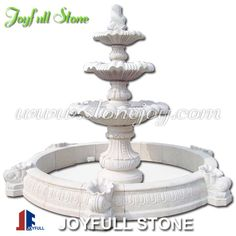 Carved outdoor granite fountain, natural stone fountains, 3 tier fountain with pool surround