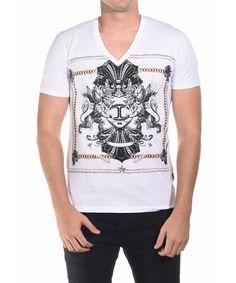JUST CAVALLI JUST CAVALLI MEN BELOVED V-NECK SHIRT WHITE'. #justcavalli #cloth #t-shirts