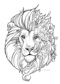 Fantasy Lion - Printable Adult Coloring Page from Favoreads (Coloring book pages for adults and kids, Coloring sheets, Coloring designs) The gnomes are having a good time in their little fantasy land. This adult coloring page is great for fairy tale fans. Lion Coloring Pages, Shape Coloring Pages, Printable Adult Coloring Pages, Adult Coloring Book Pages, Flower Coloring Pages, Coloring Books, Kids Coloring, Mandala Coloring Pages, Colouring In Sheets