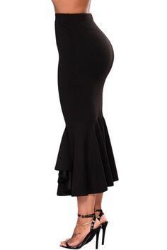 Black Ruffled Midi Mermaid Skirt #midiskirt  #mermaid #black Winter Skirt Outfit, Skirt Outfits, Fashion Skirts, Modest Fashion, Cheap Fashion, Womens Fashion, Dress Up, Bodycon Dress, Mermaid Skirt