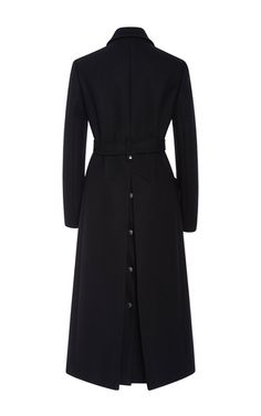Rendered in a wool blend, this **Red Valentino** coat features a standard collar with long sleeves, a tonal self-belt at the waist, and a long boxy silhouette with flap pockets at the hips.