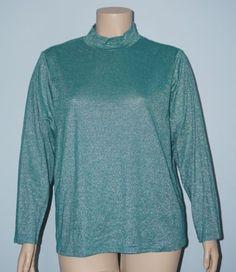 Susan-Graver-2x-Turquoise-Green-Metallic-Long-Slv-Mock-Turtleneck-Knit-Top-Shirt